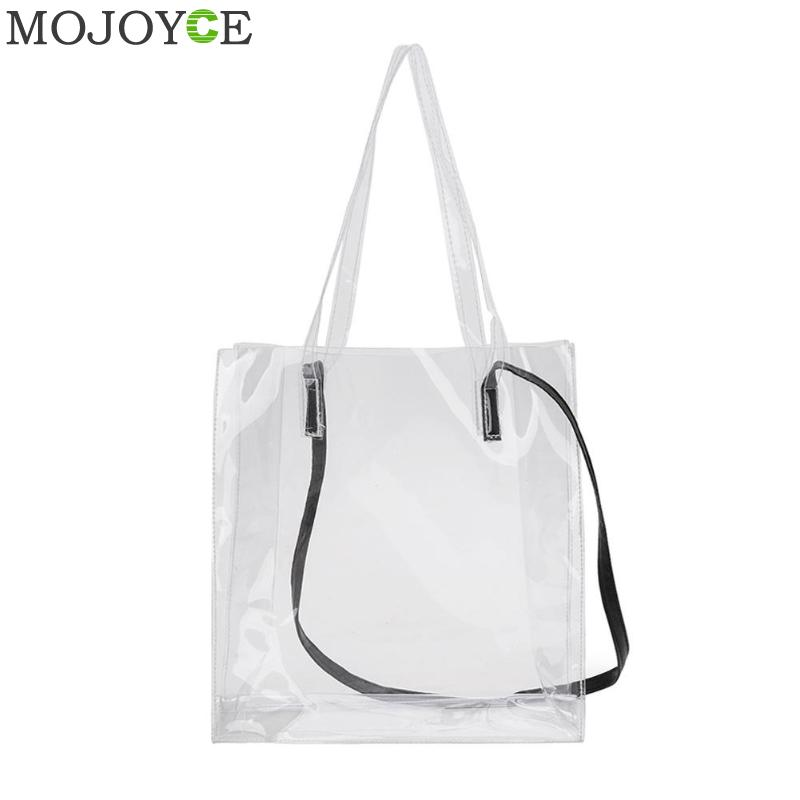 Women Clear Plastic Tote Bags Transparent Waterproof Shoulder Bag Handbag Purse