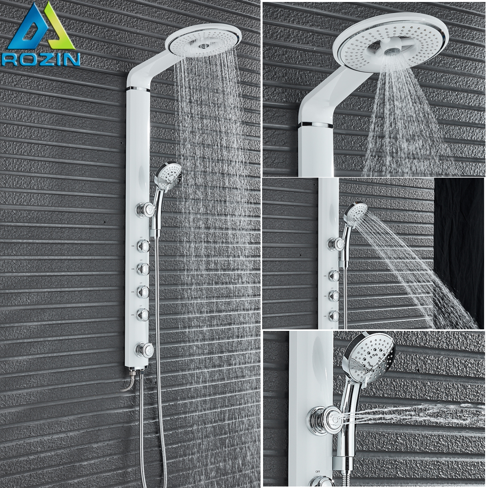 White Bath Shower Faucets Set Bathroom Shower Tap Wall