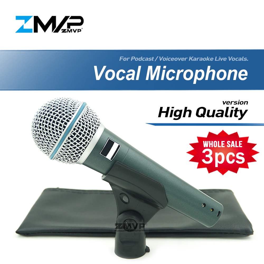 3pcs lot High Quality Version Supercardioid BETA58 Live Vocals Karaoke Dynamic 58A Wired Microphone Podcast Voiceover