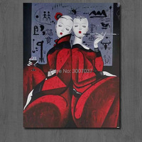 Hand painted Contemporary Art Picture Chinese Woman style Canvas Painting Modern Ornaments Women Oil Painting Home Decor