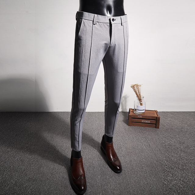 2019 spring and summer new casual pants male Korean version of the handsome trend nine pants men's business wild slim trousers