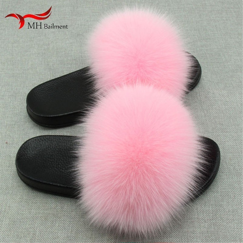 Real Fox Hair Women Fuzzy Indoor Slippers Women Casual Beach Classic Sandals Plush Women Shoes New