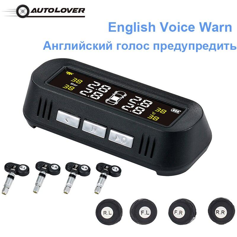 Alarme vocale Voiture TPMS Solaire USB système de surveillance de Pression des Pneus 4 Externall capteurs internes Température En Temps Réel Pneu Avertissement