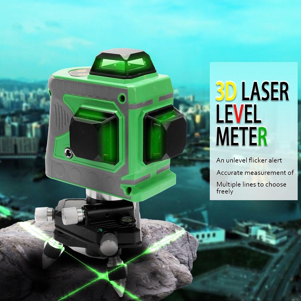 Multifonction bricolage 3D Laser Niveau 360 Niveau Laser Appareil Compteur Projecteur Construction Outils Scanister Kit with12 Lignes rouge/bleu