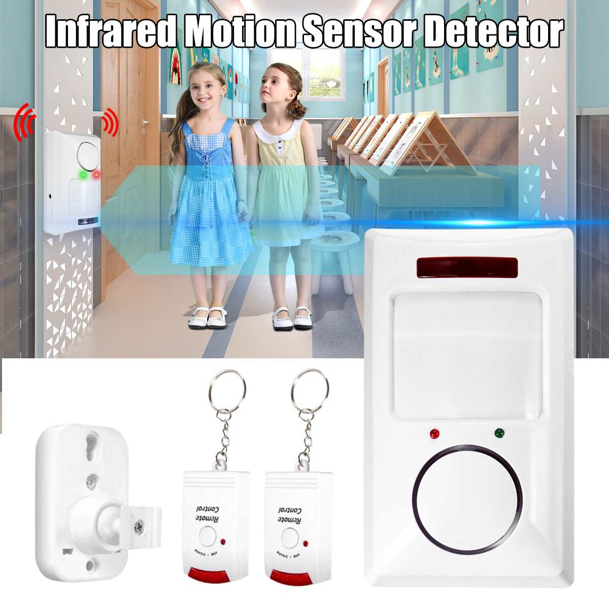 IR Infrared Motion Sensor Detector Wireless Remote Controlled Mini Alarm 105dB Loud Siren For Home S