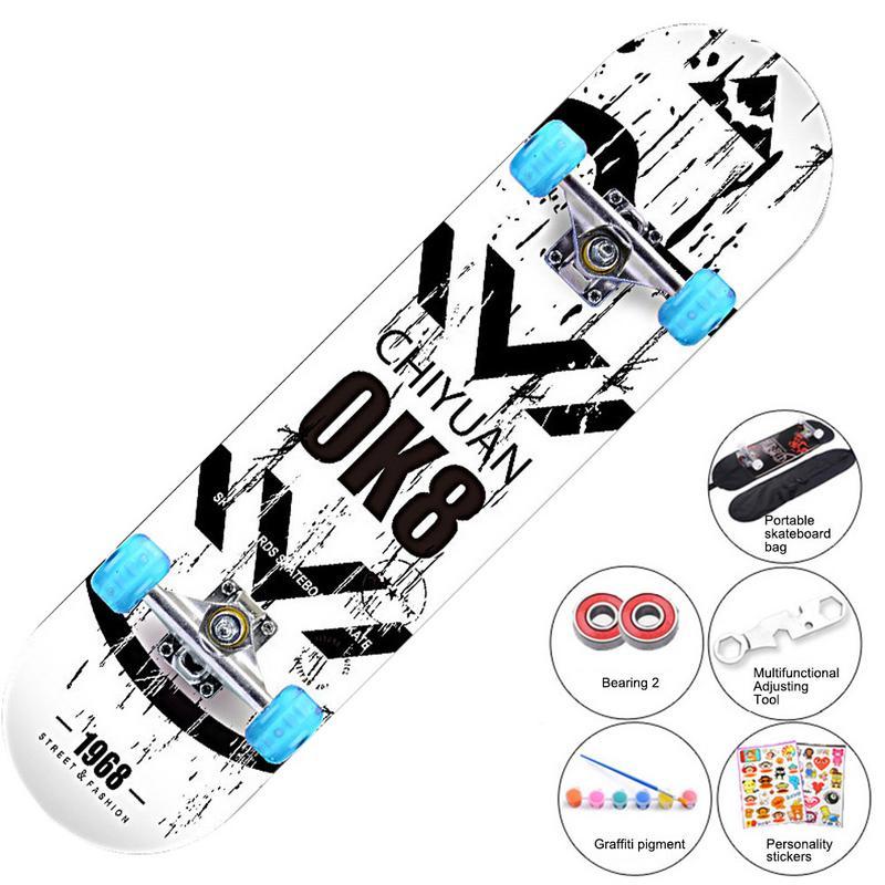 Planches à roulettes complètes 31.5 pouces érable pont lumineux poulie pour enfants garçons jeunes débutants adultes Absorption des chocs planche à roulettes