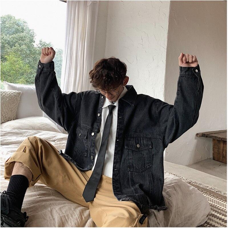 2019 printemps et automne modèles nouvelle Version coréenne du bord brut lâche sous les pieds couleur unie revers Denim veste noir/bleu