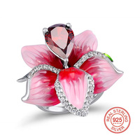 925 Sterling Silver Rings Pink Enamel Big Flower with Red Drop Water Shape Stone Ring for Women Jewelry