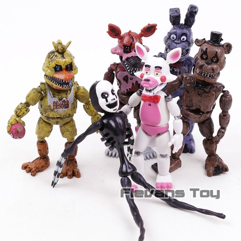 FNAF das Cinco Noites no Freddy Pesadelo Freddy Chica Bonnie Funtime Foxy PVC Figuras de Ação Brinquedos 6 pçs/set