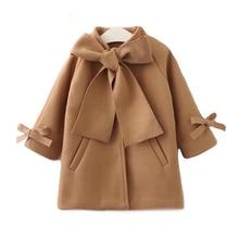 Новое осенне-зимнее пальто для маленьких девочек теплое шерстяное пальто-Тренч с бантом пальто для девочек, детская верхняя одежда с длинными рукавами, куртка