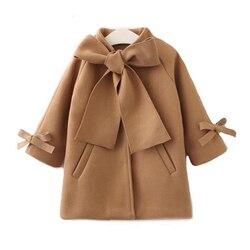 Новинка; сезон зима-осень; теплое шерстяное пальто-Тренч с бантом для маленьких девочек; пальто для девочек; детская верхняя одежда с длинны...
