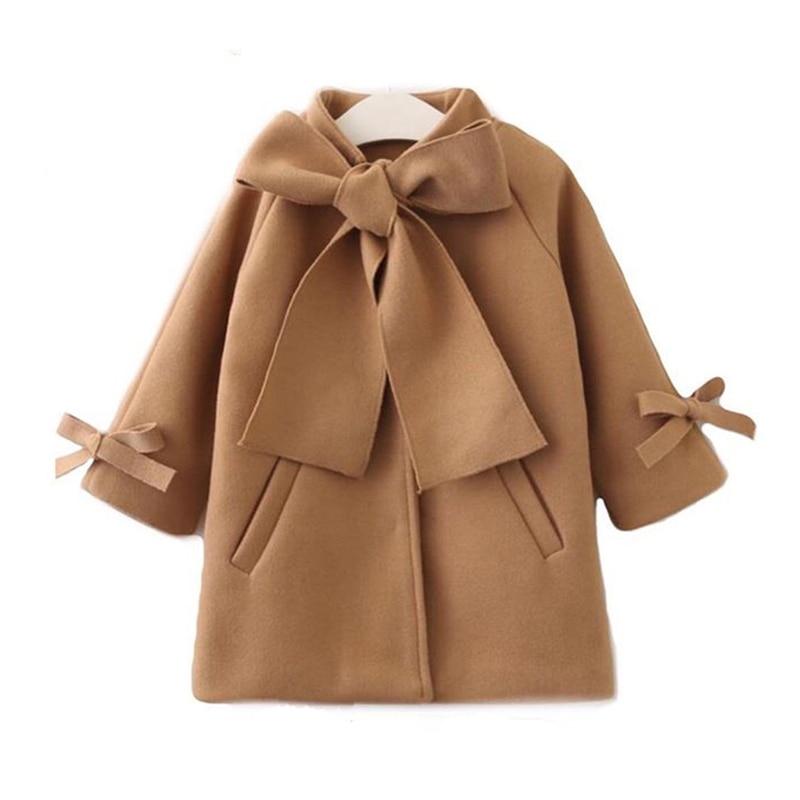 New Winter Autumn Toddler Kids Baby Girls Coat Warm Wool Bowknot Trench Coat Overcoat Girls Kids Long Sleeve Outwear Jacket