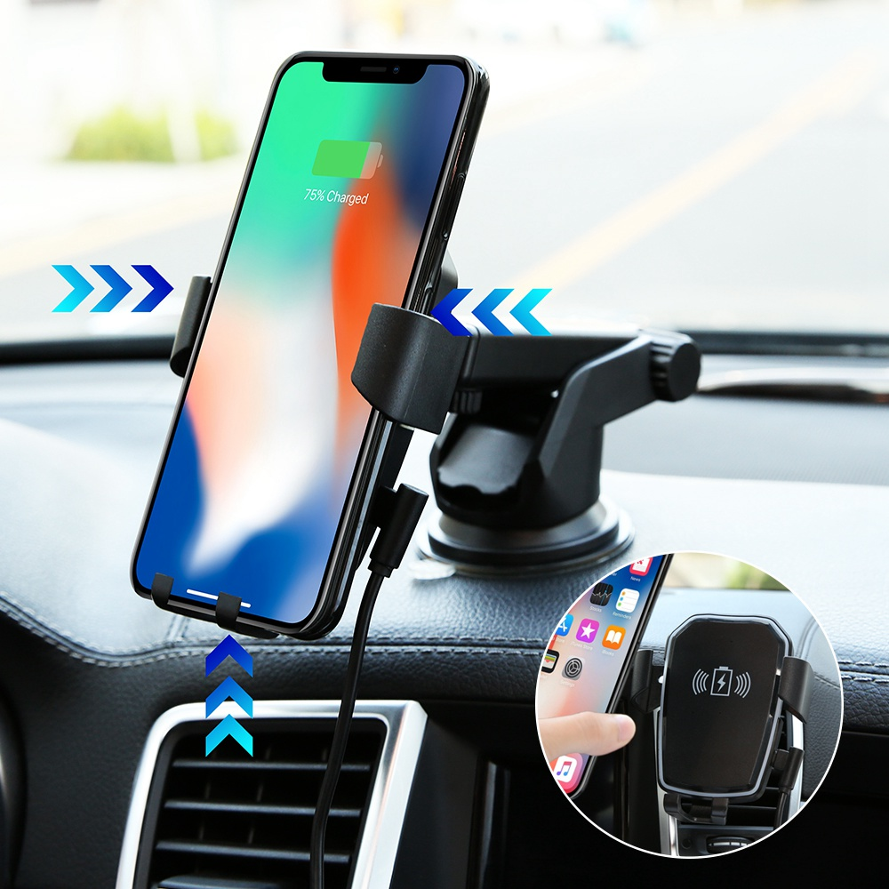 CASEIER Car QI Fast  Wireless Charger For iPhone X XR XS Max Wireless Charging Gravity Car Phone Holder For Samsung Note 9 Stand