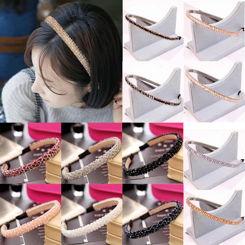 Cô gái Sang Trọng Shiny Rhinestone Tóc Ban Nhạc Chất Lượng Cao Kim Cương Hoop Tóc Phụ Kiện cho Phụ Nữ Pha Lê Headbands Đồ Trang Trí
