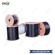 Горячая Распродажа FTTH волоконно-оптический кабель 1000 м/рулон 4 ядра 2 стальная проволока Тип открытый одиночный режим волоконно-оптический кабель LSZH оболочка