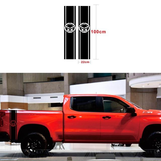 1 ペア車のステッカー 1500 2500 3500 トラックベッドサイドストライプヘッドビニールデカールステッカーグラフィックスタイリングラップ