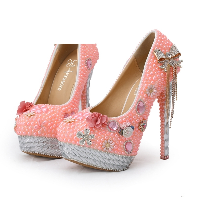 2018 Wedding Shoes Pink Pearl Banquet Formal Dress Shoes Spring Handmade Bride Shoes Adult Ceremony Pumps Party Prom Pumps 2018 handmade pink lace wedding shoes women pumps bridal dress prom shoes party shoes beautiful applique bridesmaid shoes