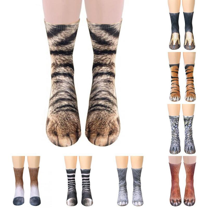 1Pair 3D Animals Print Socks Unisex Crew Long Socks Soft Casual Cute Cotton Socks Children Dog Horse Zebra Tiger Cat Paw