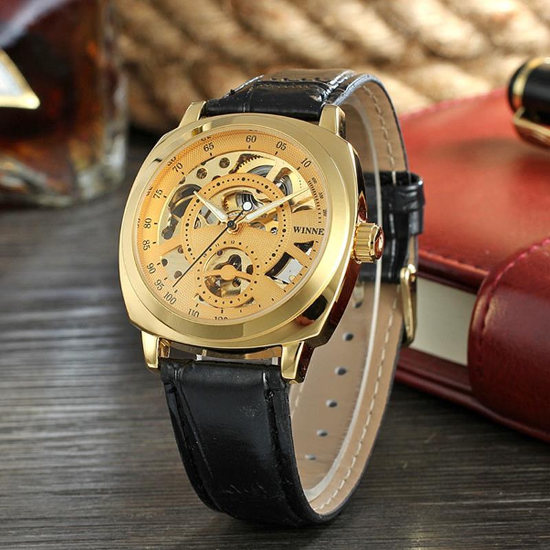 Winner Royal Diamond Design Black Gold Mechanical Watch Montre Homme Mens Watches Top Brand Luxury Relogio Male Watch 2