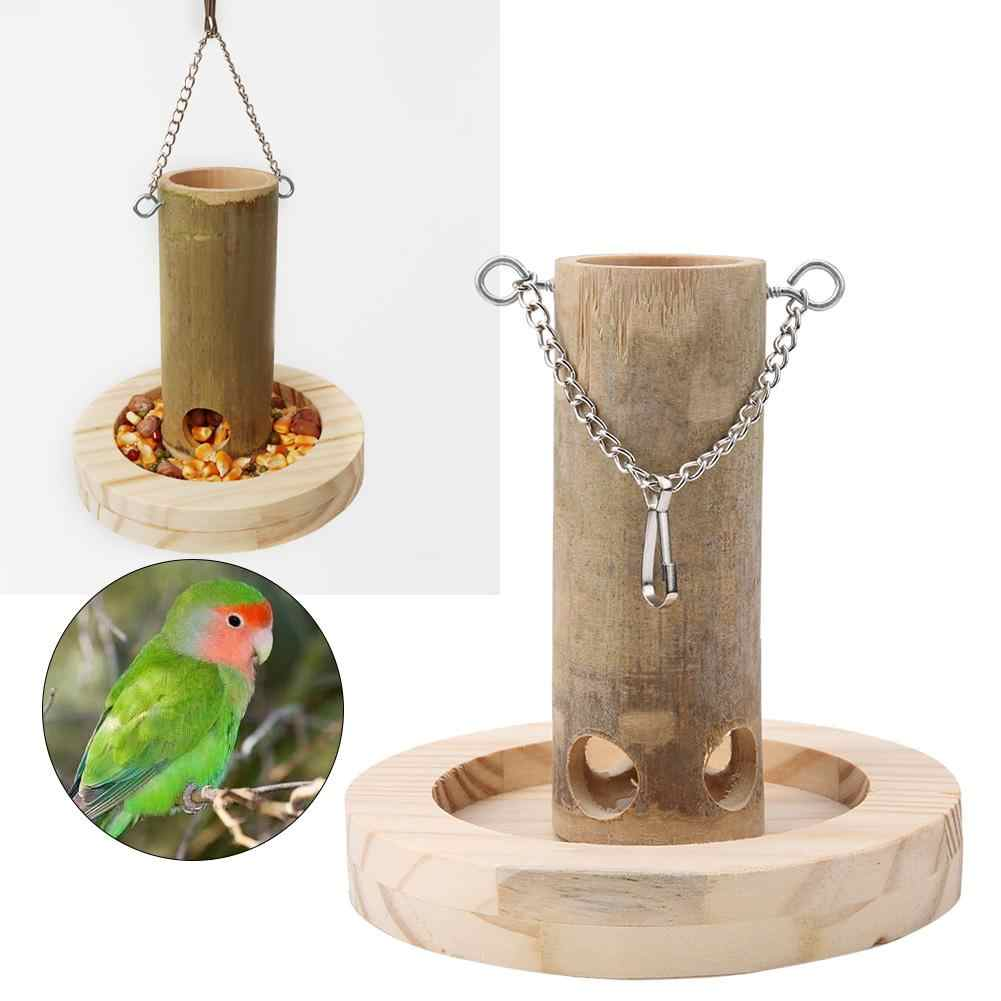 High Quality Natural Bamboo Tube Bird Feeder Box with Wooden Base For Parrots