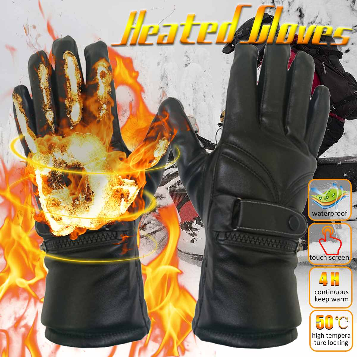 Waterproof Leather Electric Heated Gloves Warmer Hands Screen Winter Outdoor Motorcycle High Temperature Durability GlovesWaterproof Leather Electric Heated Gloves Warmer Hands Screen Winter Outdoor Motorcycle High Temperature Durability Gloves
