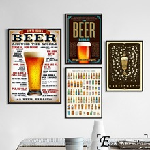 цена на How To Order A Beer Vintage Char Poster And Print Canvas Art Painting Wall Pictures For Bar Pub Decoration Home Decor No Frame