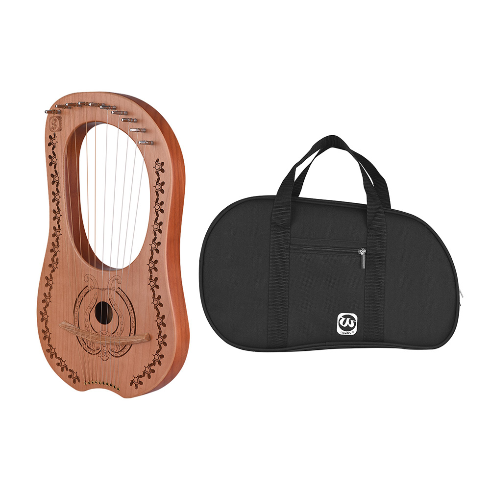 10-String Wooden Lyre Harp Metal Strings Maple Wood Topboard Mahogany Backboard String Instrument with Carry Bag
