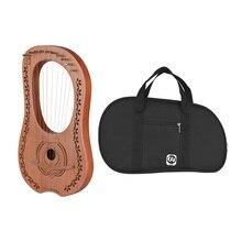 10-String деревянный Лира Арфы металлическими струнами из кленового дерева topboard из красного дерева щит струнный инструмент с сумкой для переноски