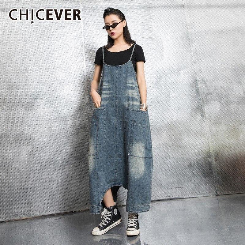 CHICEVER printemps lavage pull Denim robe pour les femmes O cou Spaghetti sangle poches lâche grande taille asymétrique robes 2019 nouveau