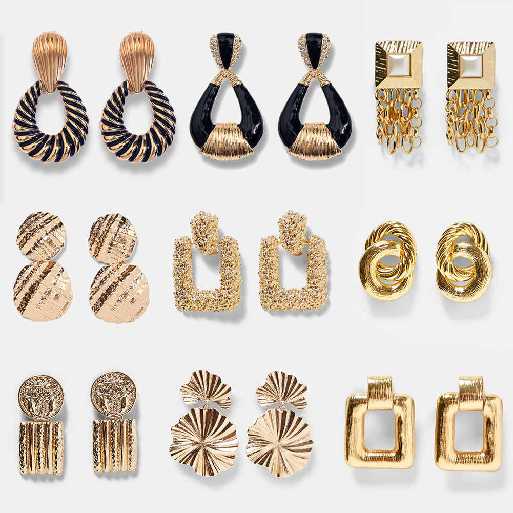 JUST FEEL ZA Fashion Gold Color Dangle Earrings For Women Round Geometric Crystal Bohemia Vintage Statement Drop Earring Jewelry