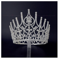 Full Large Crowns For Lady Bridal Weddind Tiaras Miss Beauty Pageant Queen Headwear Rhinestone Fashion Jewelry Hair Crown 01681