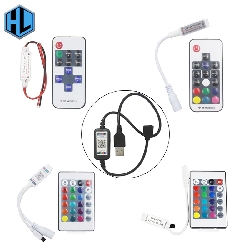 11/17/24/44 Key Infrared Remote Control Usb Controller Bluetooth Connection Dc5 24v For Bedroom Computer Rgb Light Strip Connect