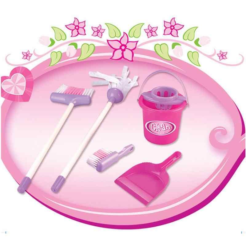 لعب دور للأطفال ، مجموعة لعب تنظيف المنزل ، مكنسة وردية/ممسحة/دلو/مجرفة/فرشاة تنظيف ، مجموعة ألعاب تعليمية