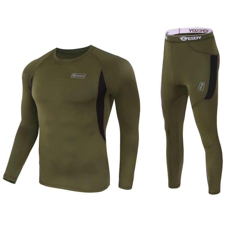 T-shirt Calças de Lã Caminhadas Ao Ar Livre tático Caça Militar Do Exército Terno Esporte Roupa Interior Roupas de Caça Softshell Respirável