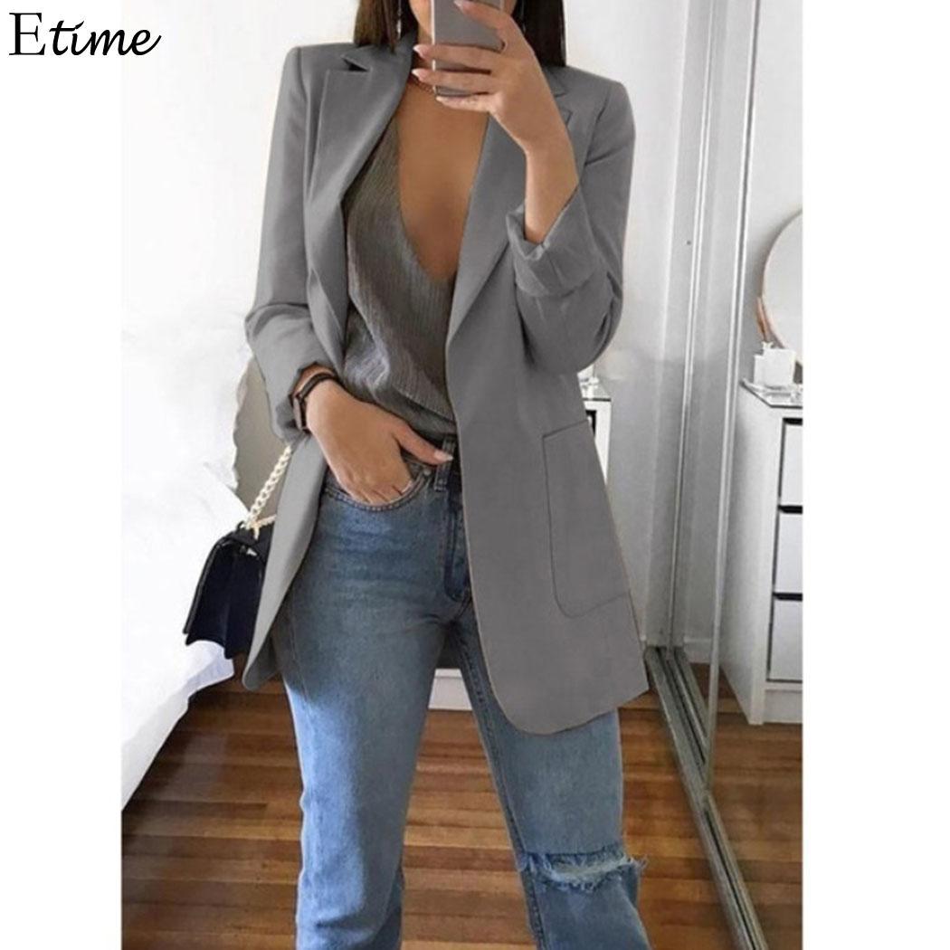 Women Blazers Jackets Work Office Slim None Button Business Casual Blazer Coat