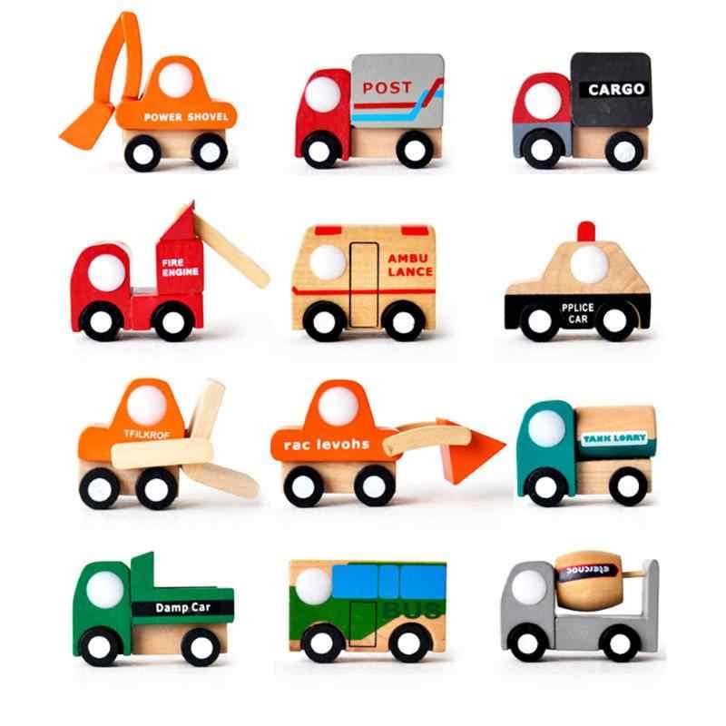 Multi Pola Mobil Polisi Mainan Kreatif Mobil Mainan Kayu Model Bayi Pendidikan Anak Tangki Tangki Polisi Ambulans Api Mobil bus Mendorong