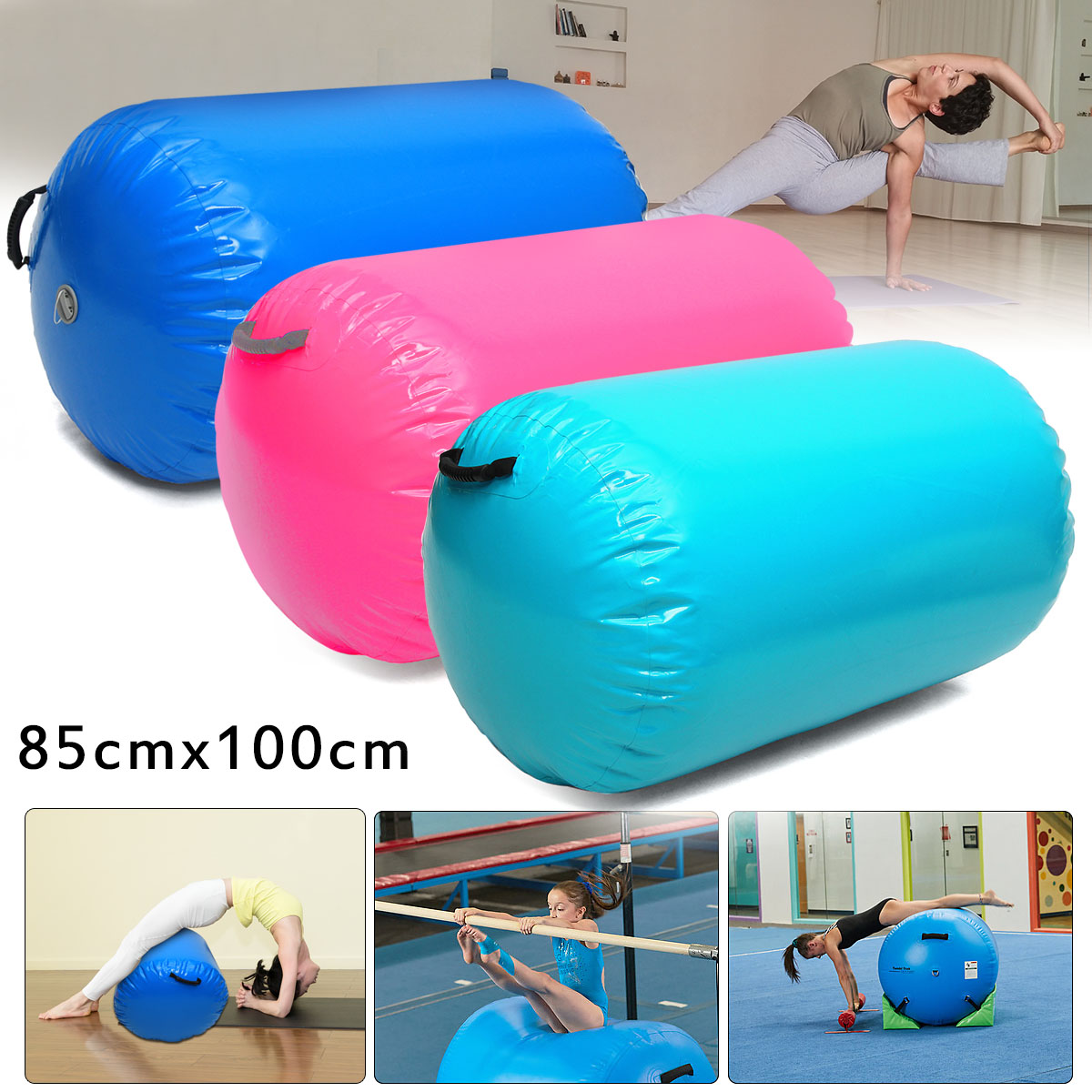 цена 85x100cm Inflatable Custom PVC Gymnastics Gym Air Mat Floor Home Gymnastics Exercise Inflatable Air Round Column Tumbling Mat