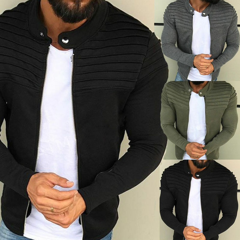 New Men's Slim Fit Stand Collar Zipper Coat Tops Military Jacket Winter Outwear