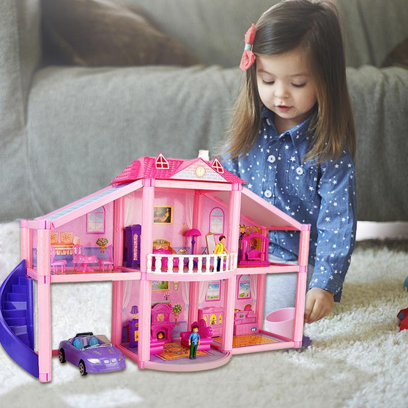 Bricolage petite maison de poupée 3D maisons de poupée en plastique assembler maison de poupée à deux étages Villa jouet pour enfants enfants jouer maison