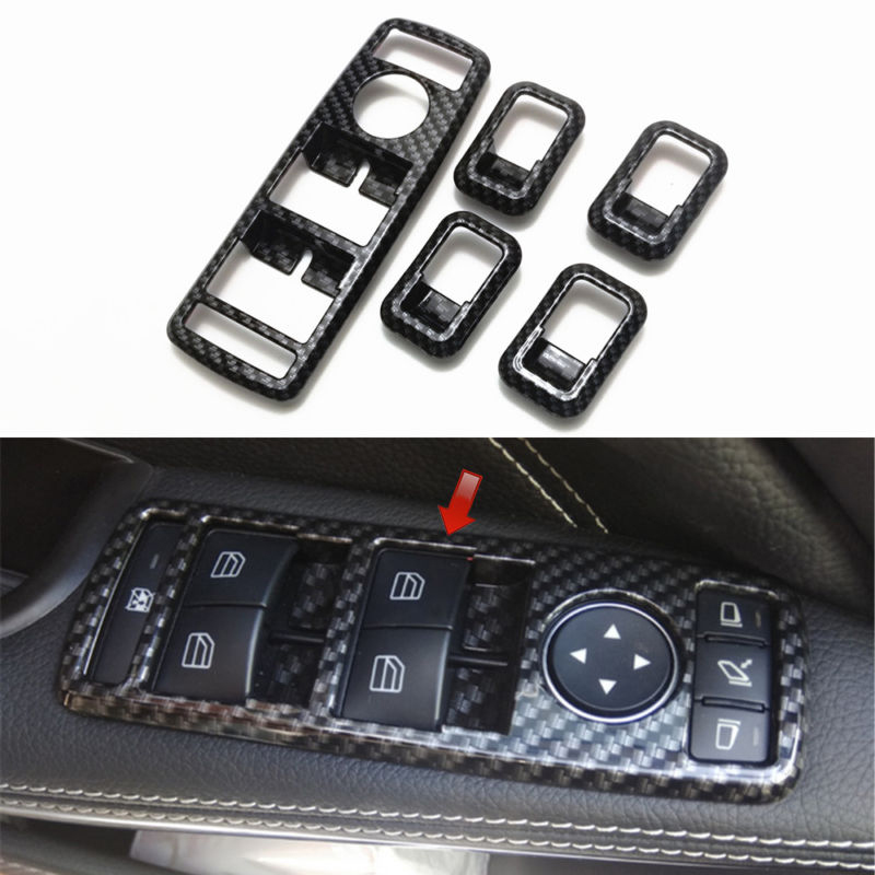 5pcs Window Switch Cover <font><b>Interior</b></font> Carbon Fiber Style For <font><b>Mercedes</b></font> Benz C117 W166 <font><b>W176</b></font> W204 W212 W218 W246 W463 X156 X166 X204 image