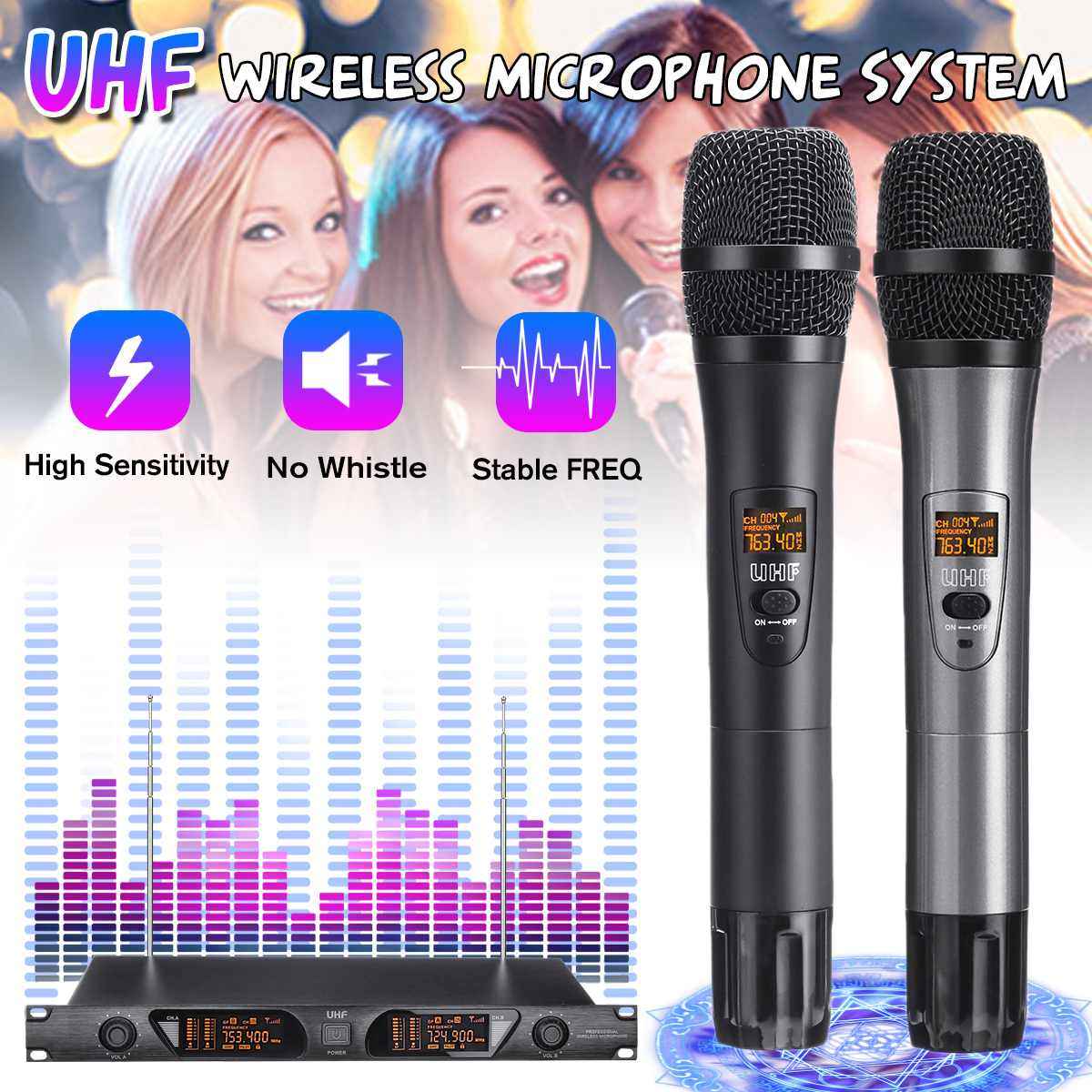 Professional UHF Digital Wireless Microphone with 2 Metal Handhelds Two Channel Cordless System for Party Karaoke StageProfessional UHF Digital Wireless Microphone with 2 Metal Handhelds Two Channel Cordless System for Party Karaoke Stage
