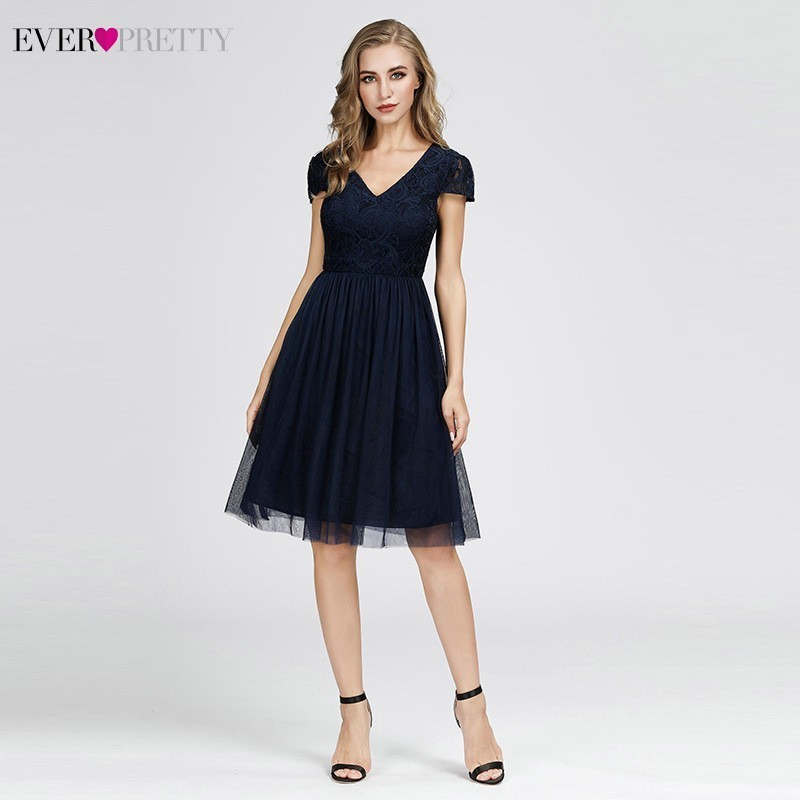 Navy Blue   Cocktail     Dresses   2019 EB07619 Women's A-line Elegant Cap Sleeves V-Neck Tulle Simple Cheap Short   Cocktail   Party Gowns