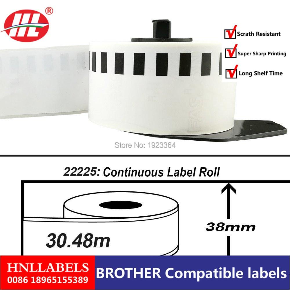 10X Rolls Brother Compatible Labels DK-22225, 38mm Continous Labels, 30.48m Per Roll, DK 2225, DK225