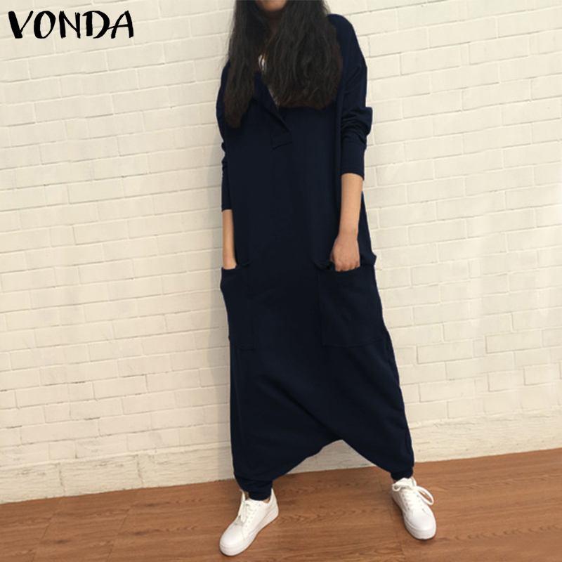 VONDA Rompers Womens Jumpsuit 2019 Autumn Casual Loose Lapel Neck Long Sleeve Harem Pants Plus Size Playsuits Baggy Overalls