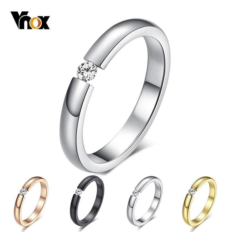 Vnox Rings Engagement-Ring Solitaire Jewels Wedding-Bands Stainless-Steel Thin Cz-Stone