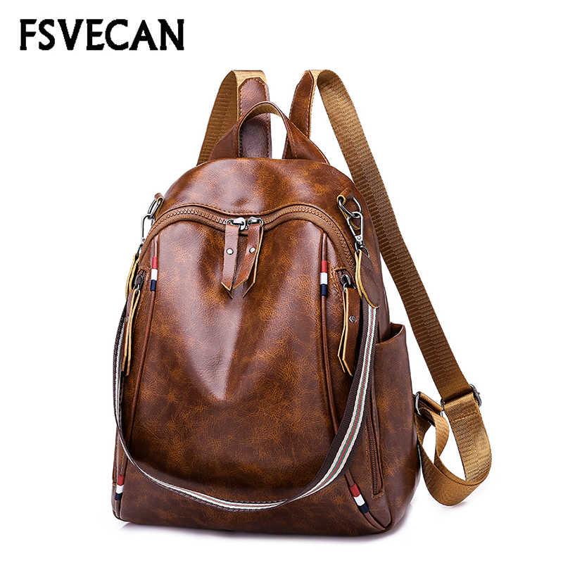 Модный кожаный женский рюкзак женский высококачественный тканевый рюкзак для досуга и школы Холщовый ремень сумка через плечо, рюкзаки женские 2019