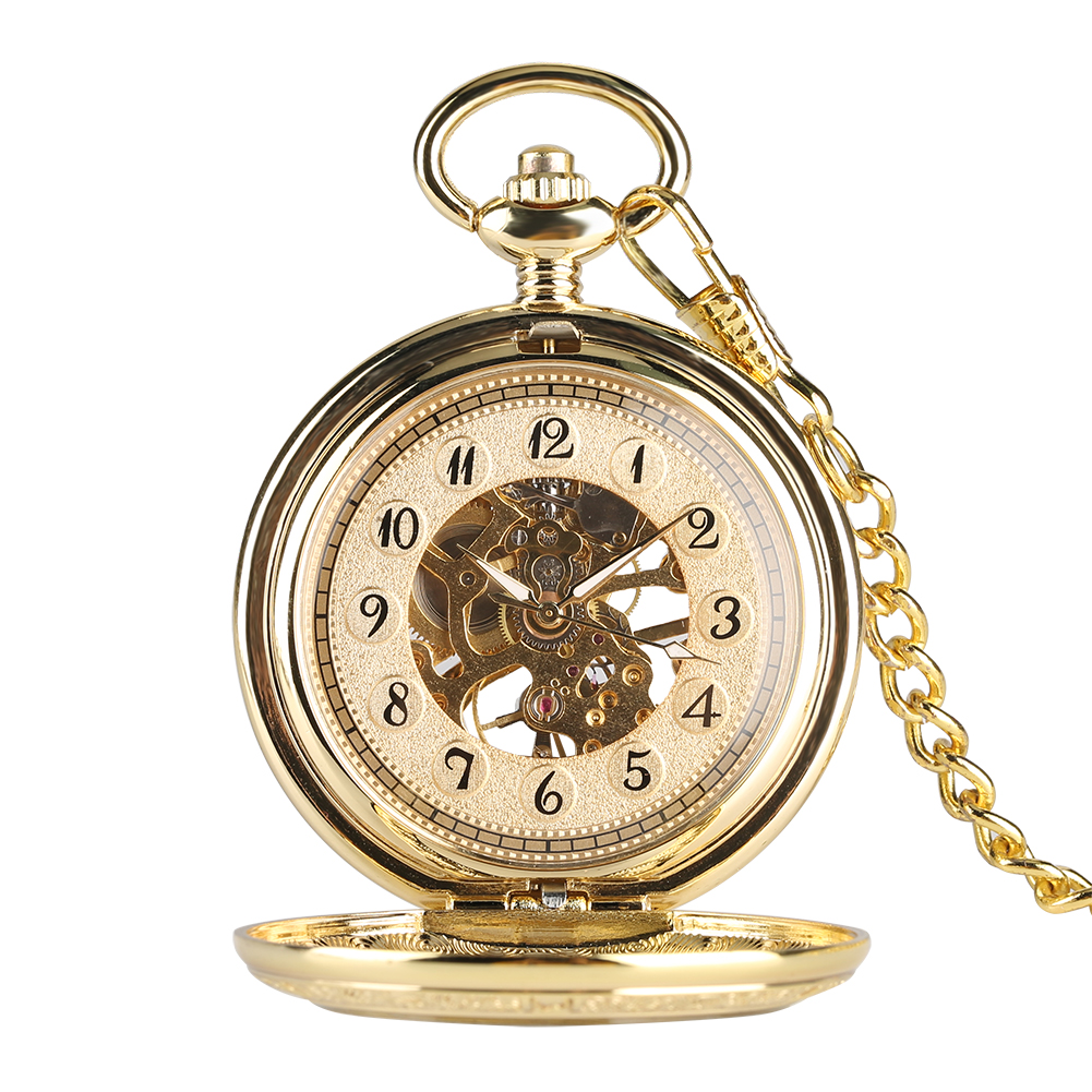 Necklace Pocket Watch For Men,Hand Operated Mechanical Gold Pocket Watchers For Boys, Double Sided Carved Male Pocket Watch Gift