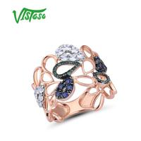 VISTOSO 10K Rose Gold Drop Hollow Ring For Lady Created Sapphire&Emerald&White Sapphire Glamorous Glittering Party Fine Jewelry