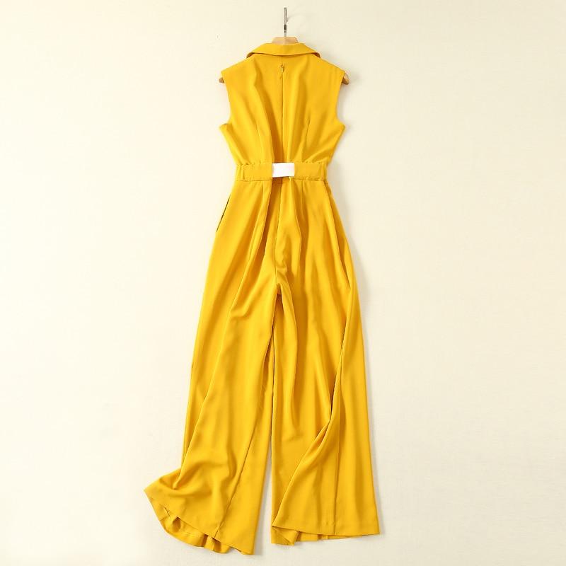 Jeden kawałek strój kobiety urząd lady odzież robocza żółty kombinezon ścięty kołnierz bez rękawów klapa kieszenie z paskiem spodnie plisowane spodnie romper w Kombinezony od Odzież damska na  Grupa 3