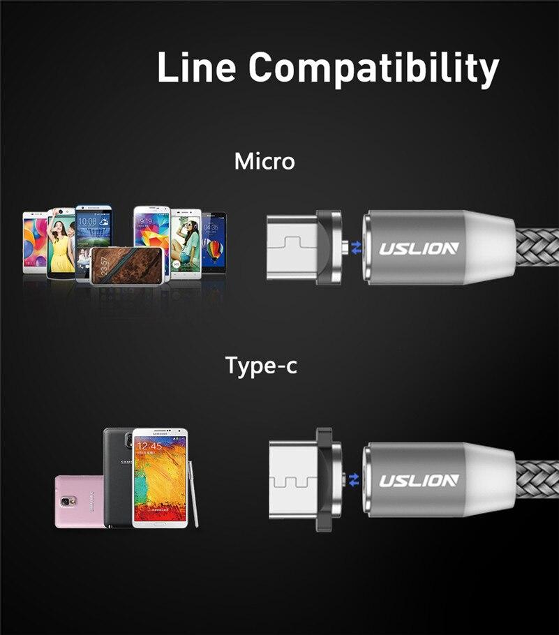 Магнитный usb-кабель USLION для быстрой зарядки, кабель USB type C, Магнитный зарядный кабель Micro usb для зарядки и передачи данных, кабель USB для мобильного телефона